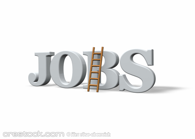 the word jobs and a ladder on white background...